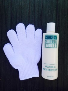Prevent Ingrown Hairs with a Nylon Glove and Glycolic Body Smoother